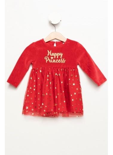 DeFacto Kız Bebek Yıldız Desenli Kadife Elbise Kırmızı